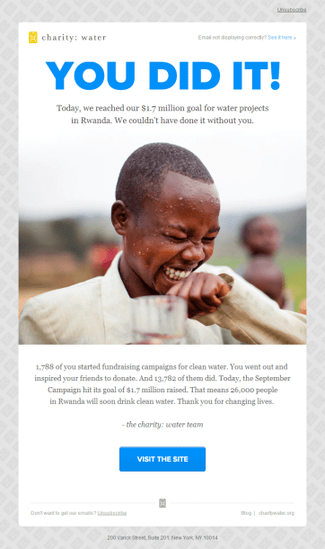 charitywater donor thank you