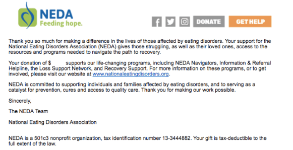 neda donor thank you