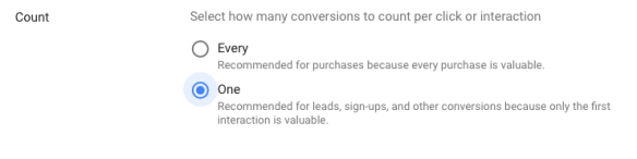 count section in google ads conversion tracking