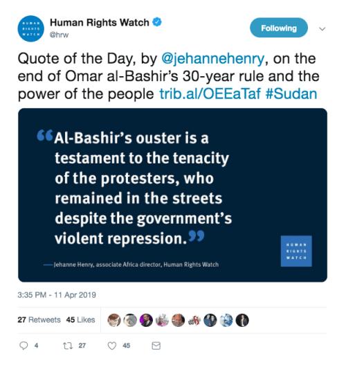 Human Rights Watch Tweet on Sudan