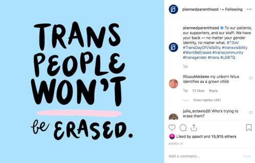 Planned Parenthood Instagram post on Trans Day of Visibility