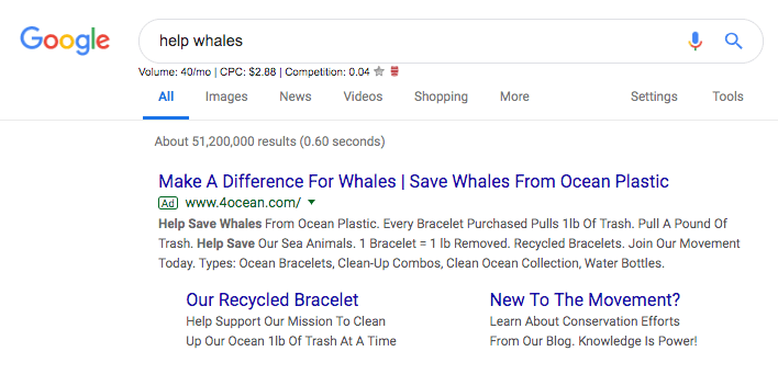 Example of Google Search ad, using the Google Ad Grant