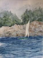 Sailboat Watercolor Maine