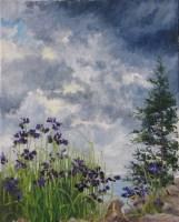 Oil Maine Landscape with Iris