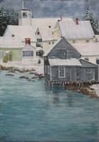 Maine Village Pastel