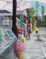 pastel Maine village