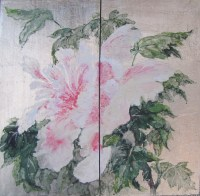 Peony on White Gold Painting