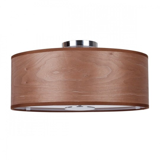 3 Light Walnut Flush Mount With Wood Shade in Chrome   Whoselamp More Views  3 Light Walnut Flush Mount With Wood Shade