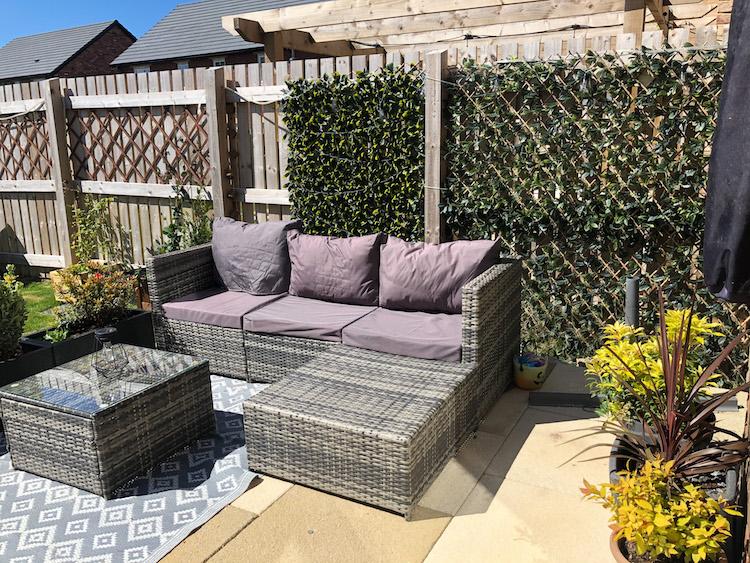 new build garden seating