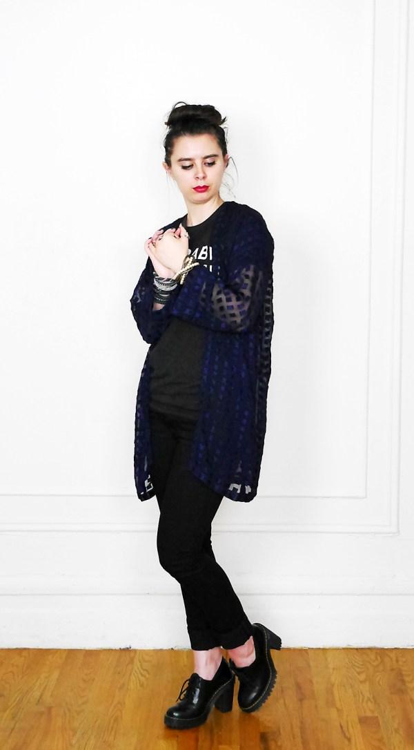 NoveltyChiffon Kimono + BabeTee + Jeans + Docs 3