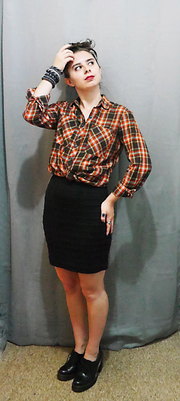 PlaidButtonUp+Skirt+Docs Fall10x10WardrobeChallenge 3