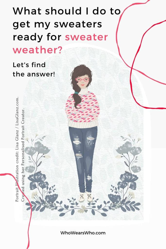 An illustration of a woman wearing a colorful sweater asking about getting ready for sweater weather blog graphic.