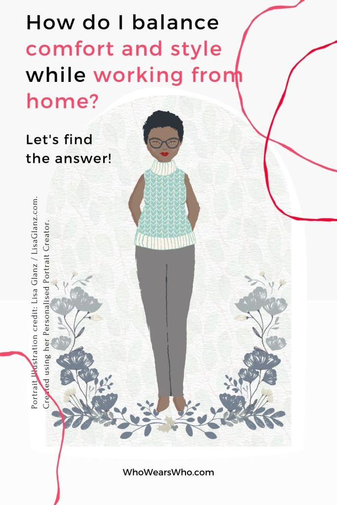 An illustration of a woman wearing a comfortable work from home look blog graphic.