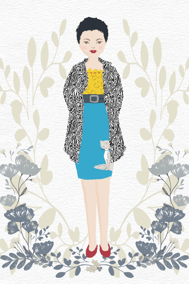 an illustration of a woman wearing a bright yellow blouse, a blue skirt with a cat applique, a wide black belt with buckle, a zebra print coat, and red flats