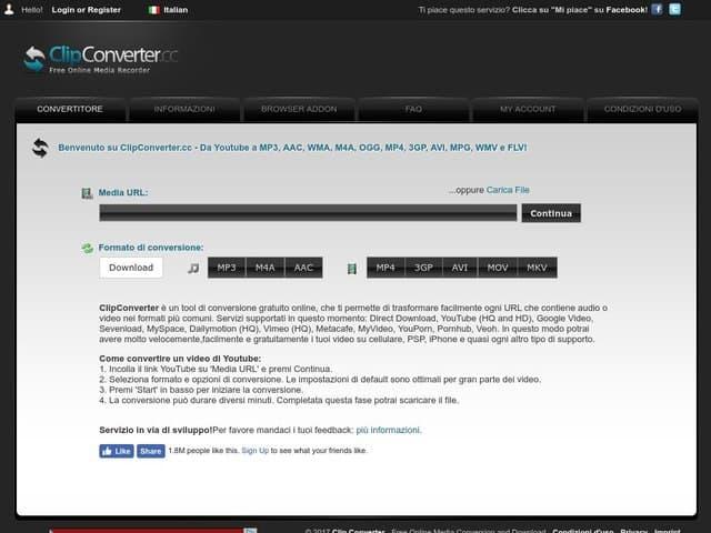 clipconverter - scaricare video da youube