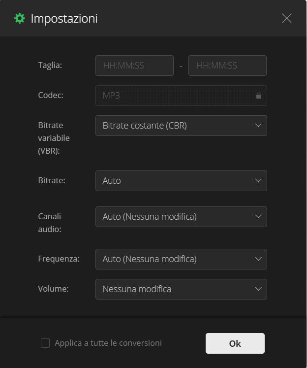 Convertio - Impostazioni per modificare il file audio mp3