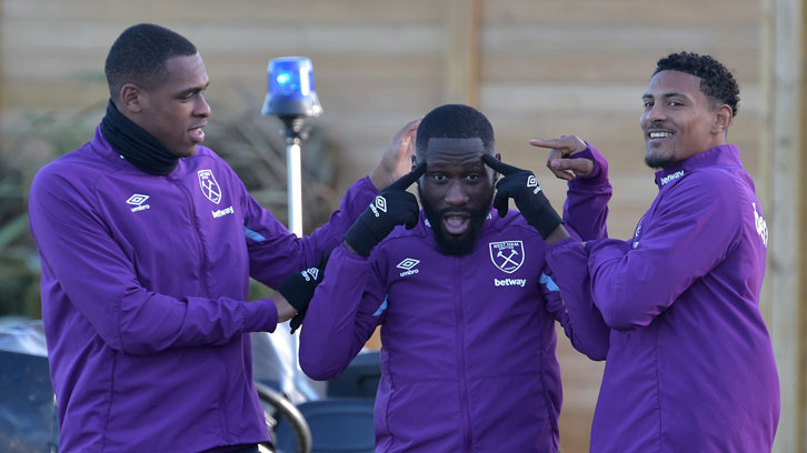 The DR Congo international shares a joke with Issa Diop and Sebastien Haller