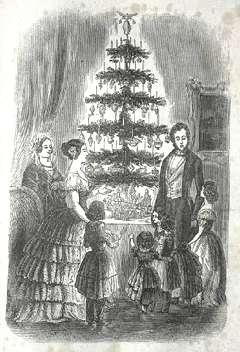 A drawing of the famous Royal Christmas Tree from 1848