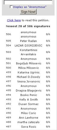 List of signatories