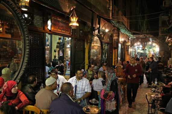 A typical Egyptian street-cafe (Al-Fishawi Cafe) via flickr  by Travel Aficionado
