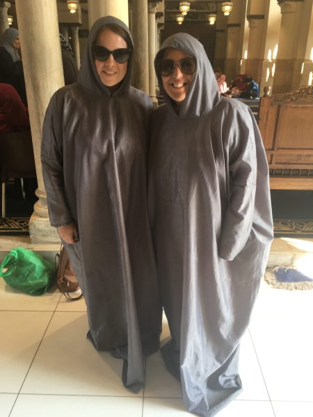 Amy & I at El-Azhar Mosque in our robe-like garment - courtesy of: Mike Sloan