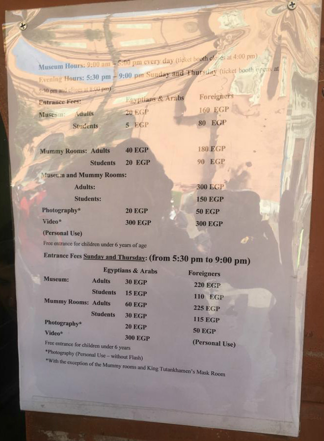 The Egyptian Museum of Antiquities in Downtown Cairo Price List