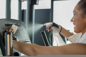 How do you clean a fitness center