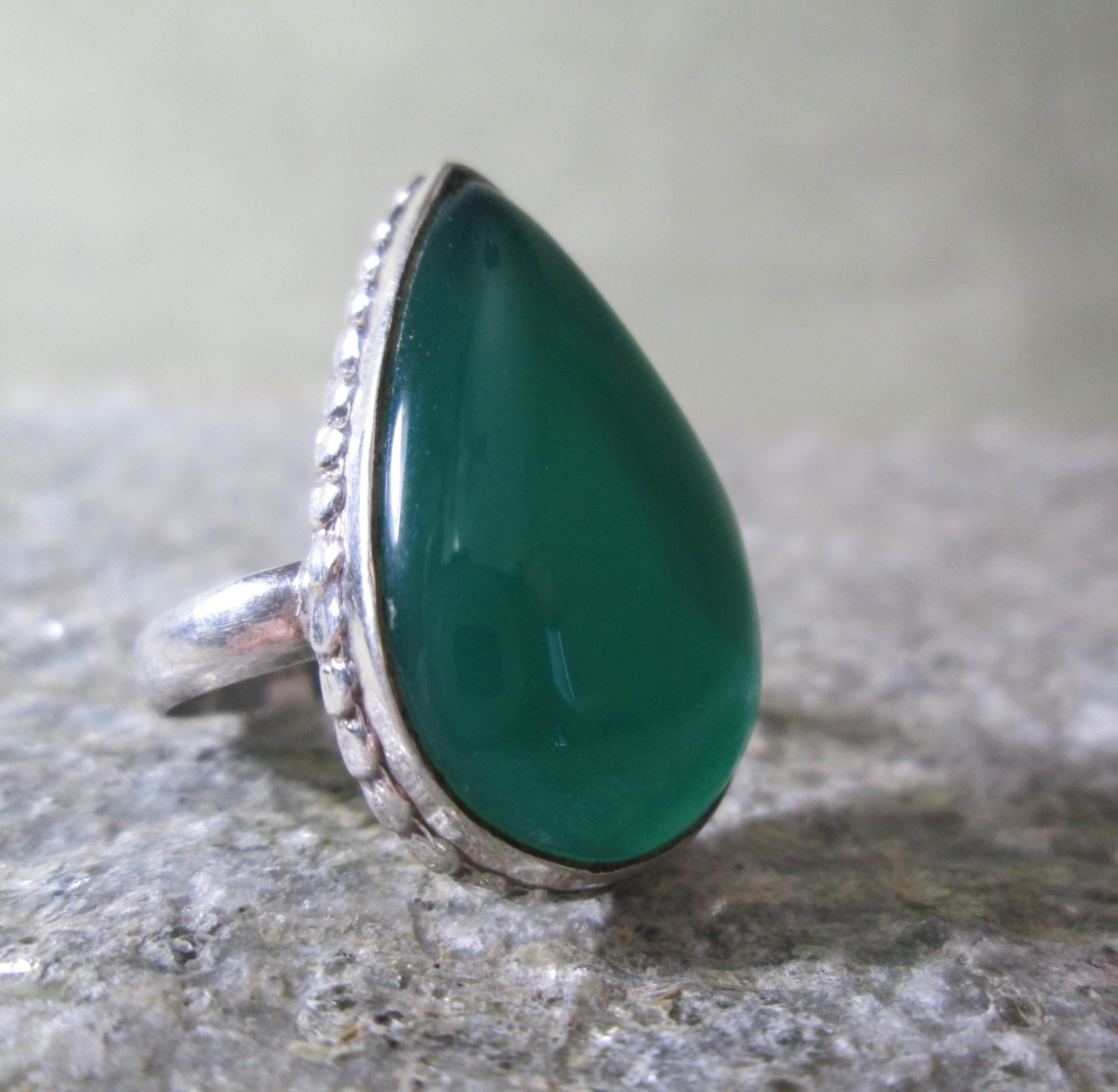 Large Teardrop Jade Ring