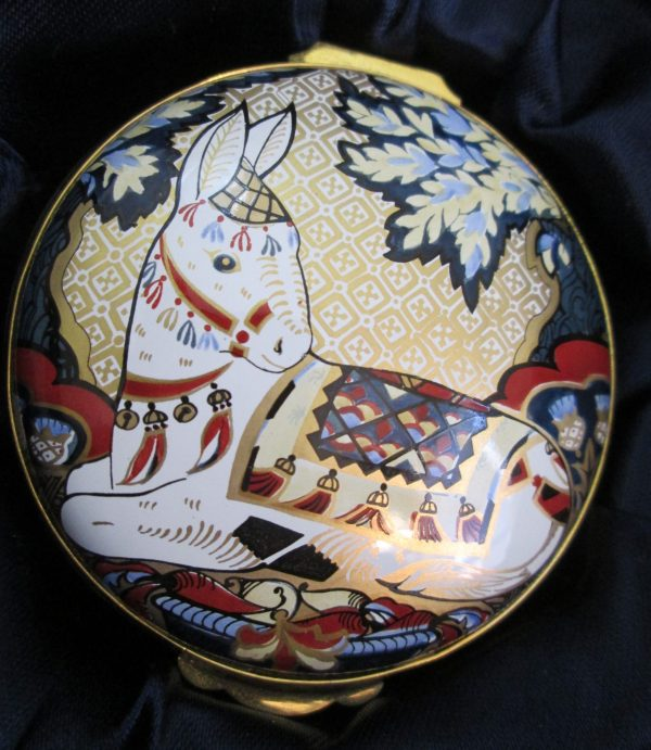 Royal Crown Derby Enamel Box Donkey