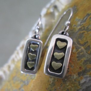 Three Hearts Mixed Metal Earrings