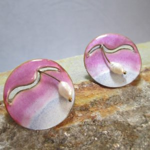 Sunrise Pearl Enamel Earrings