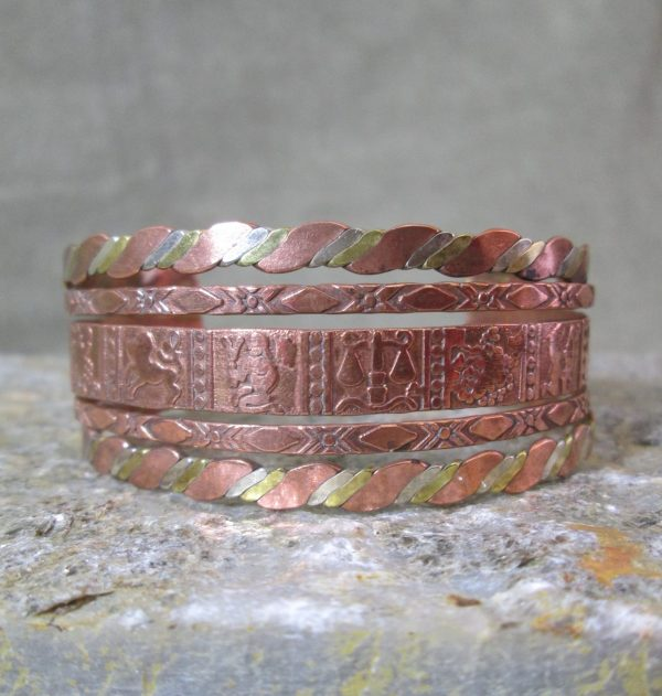 mixed metal zodiac cuff bracelet