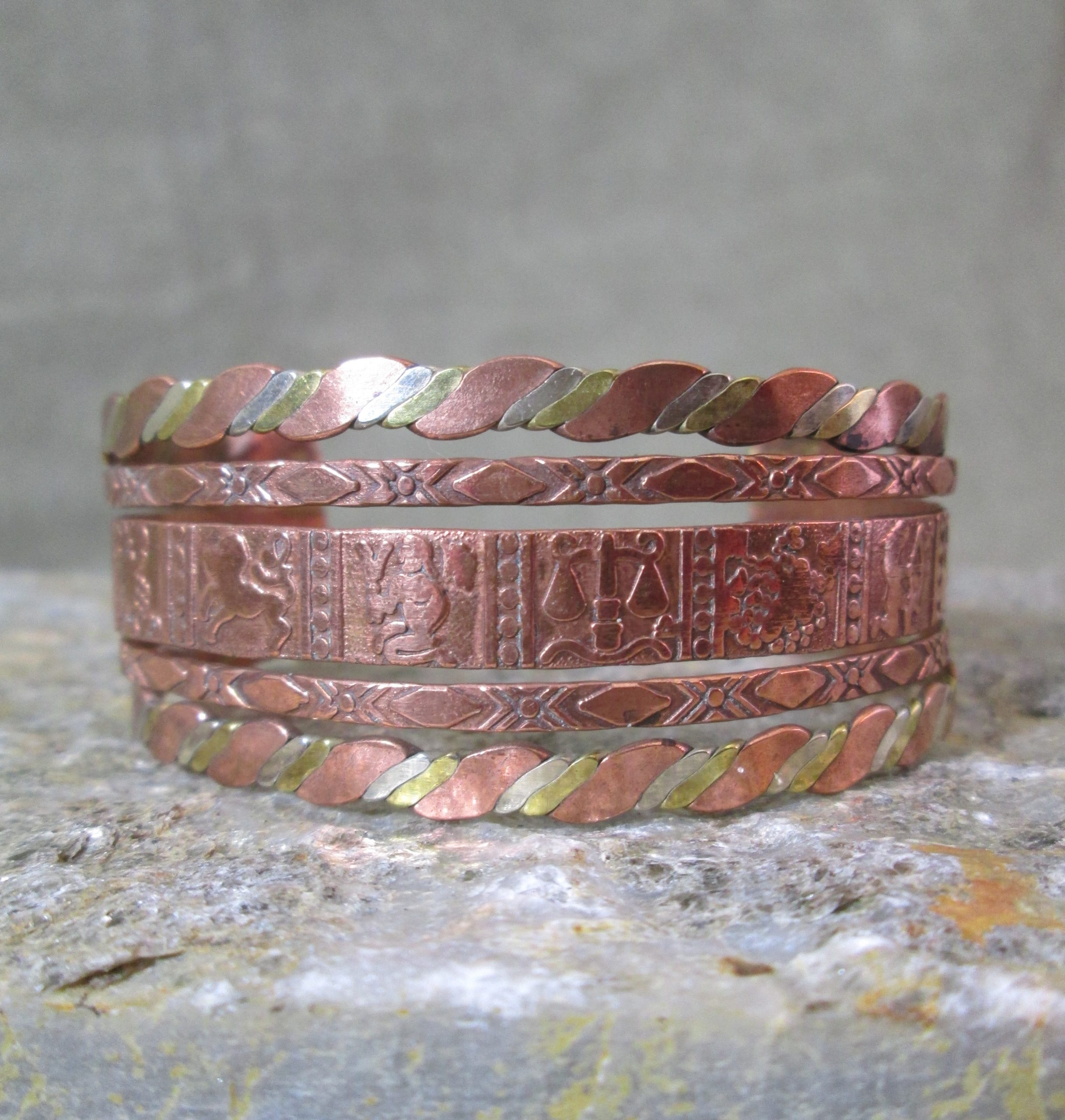 mixed metal zodiac cuff bracelet