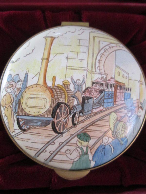 Staffordshire enamel box Sans Pareil Train
