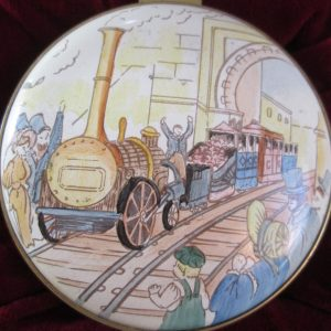 Staffordshire enamel box Sans Pareil Train