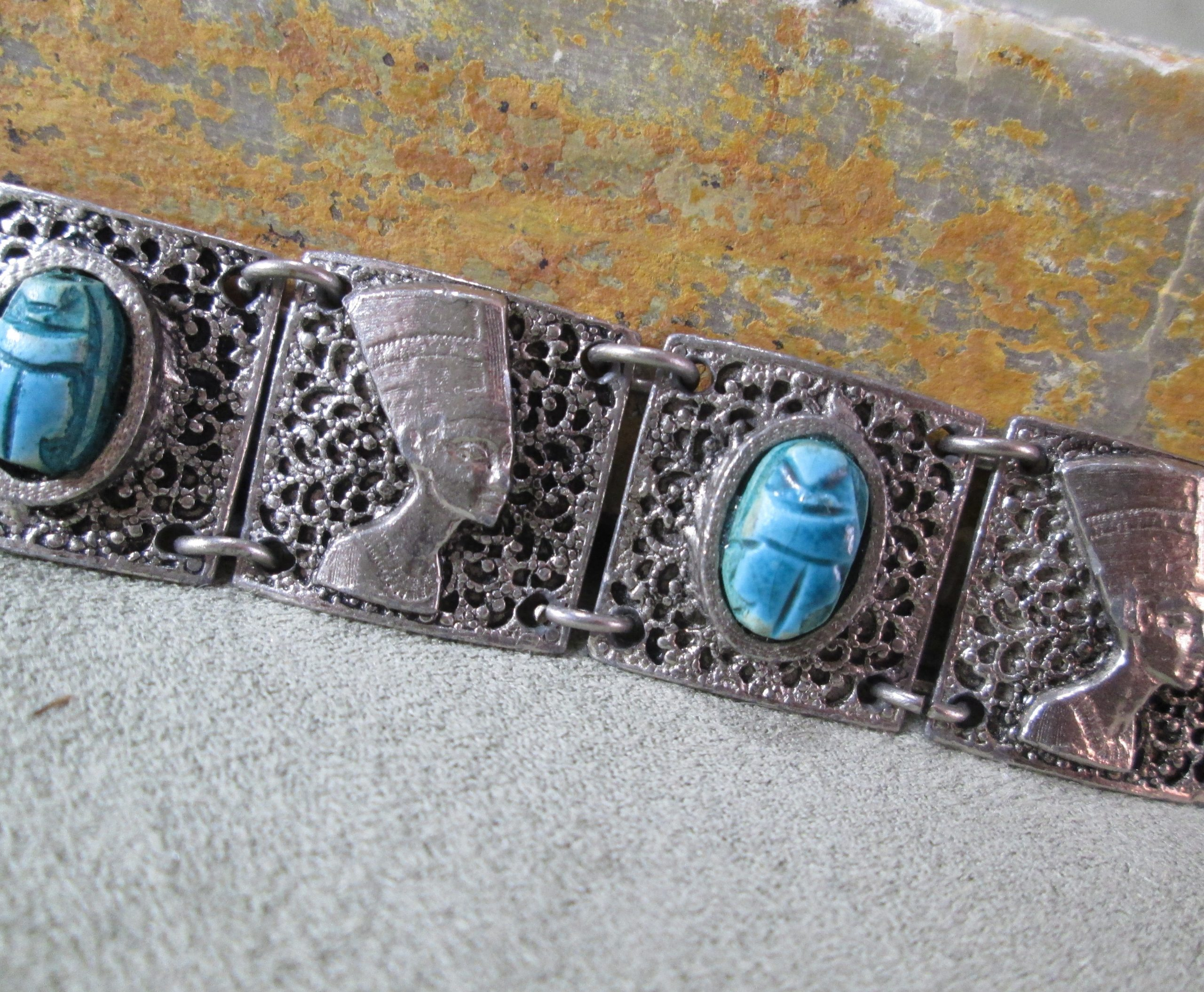 egyptian nefertiti scarab panel cuff bracelet