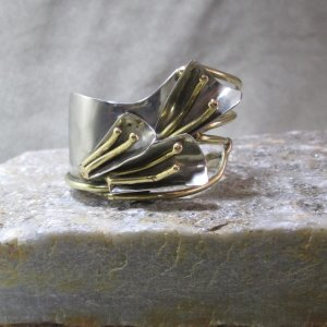 mixed metal copper cuff 3 lilies