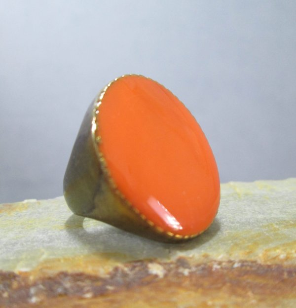 Sunset Orange Enamel Ring