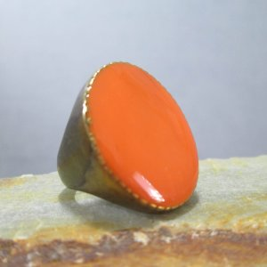 Sunset Orange Enamel Ring