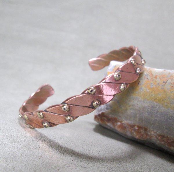 mixed metal cuff bracelet brass studs