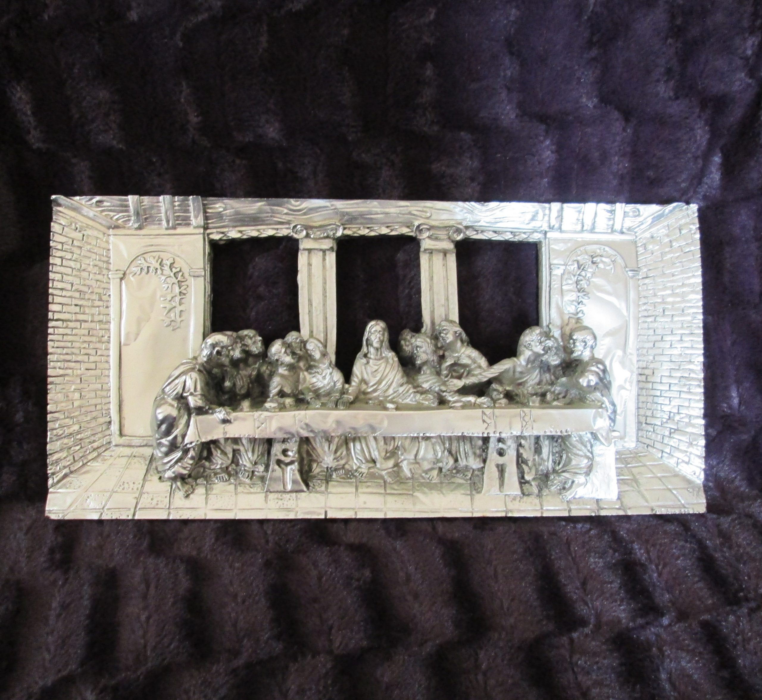 da vinci's last supper silver over plaster