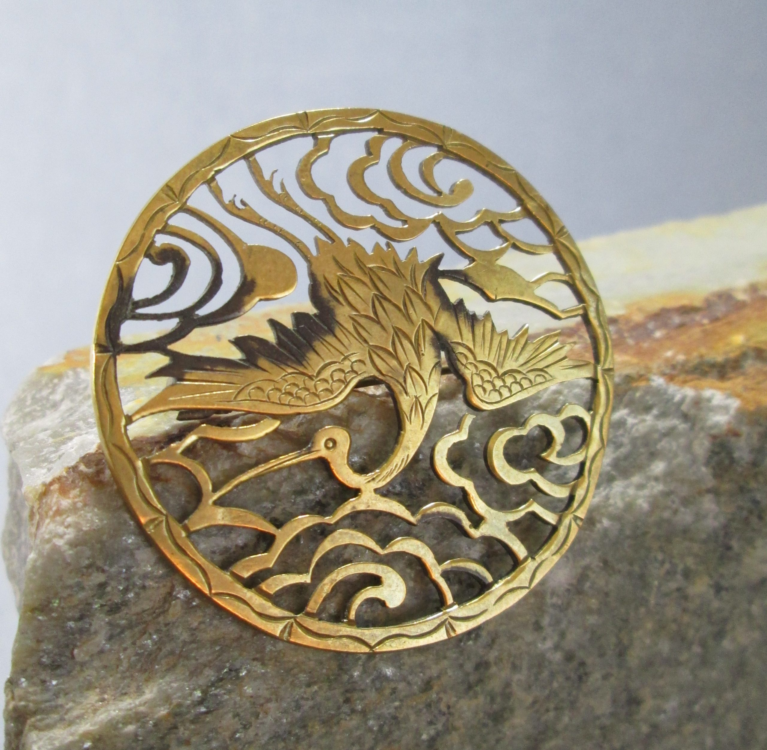 antique japanese crane brooch