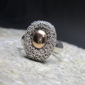 Sterling Silver and Copper Pin Cushion Ring