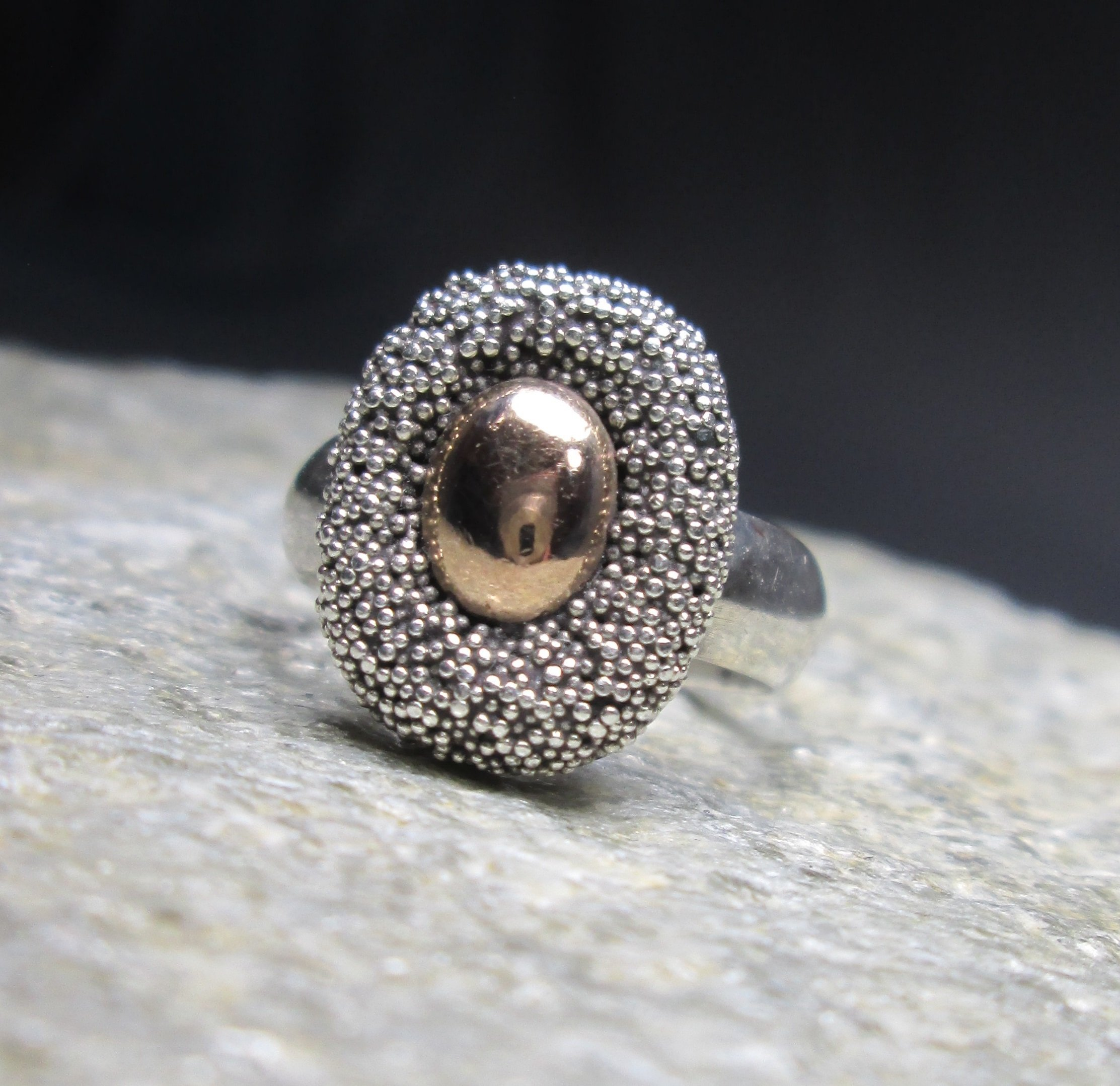 sterling silver copper stone pin cushion ring