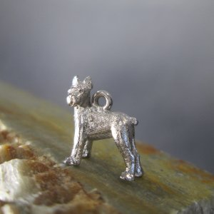 sterling silver boxer dog charm