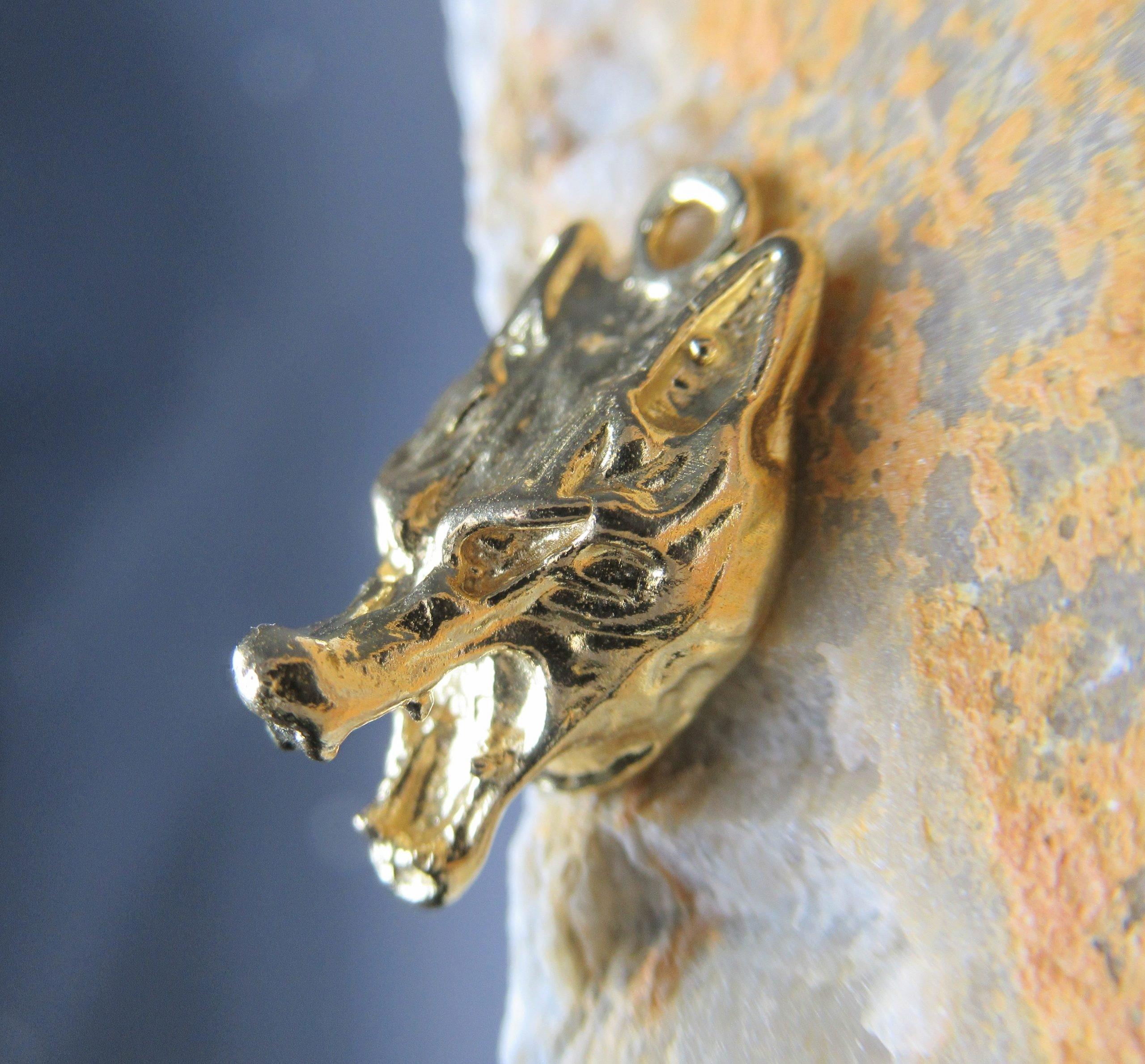 Golden Brass Wolf Charm