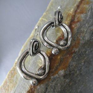 Molten Metal Silver Earrings
