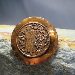 Copper Chinoiserie Brooch