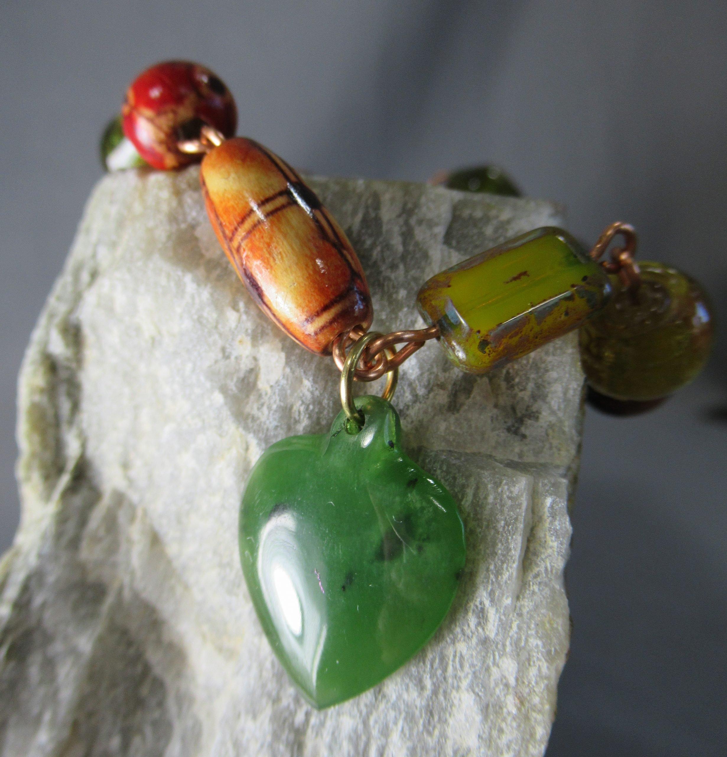 Beaded Copper Charm Bracelet