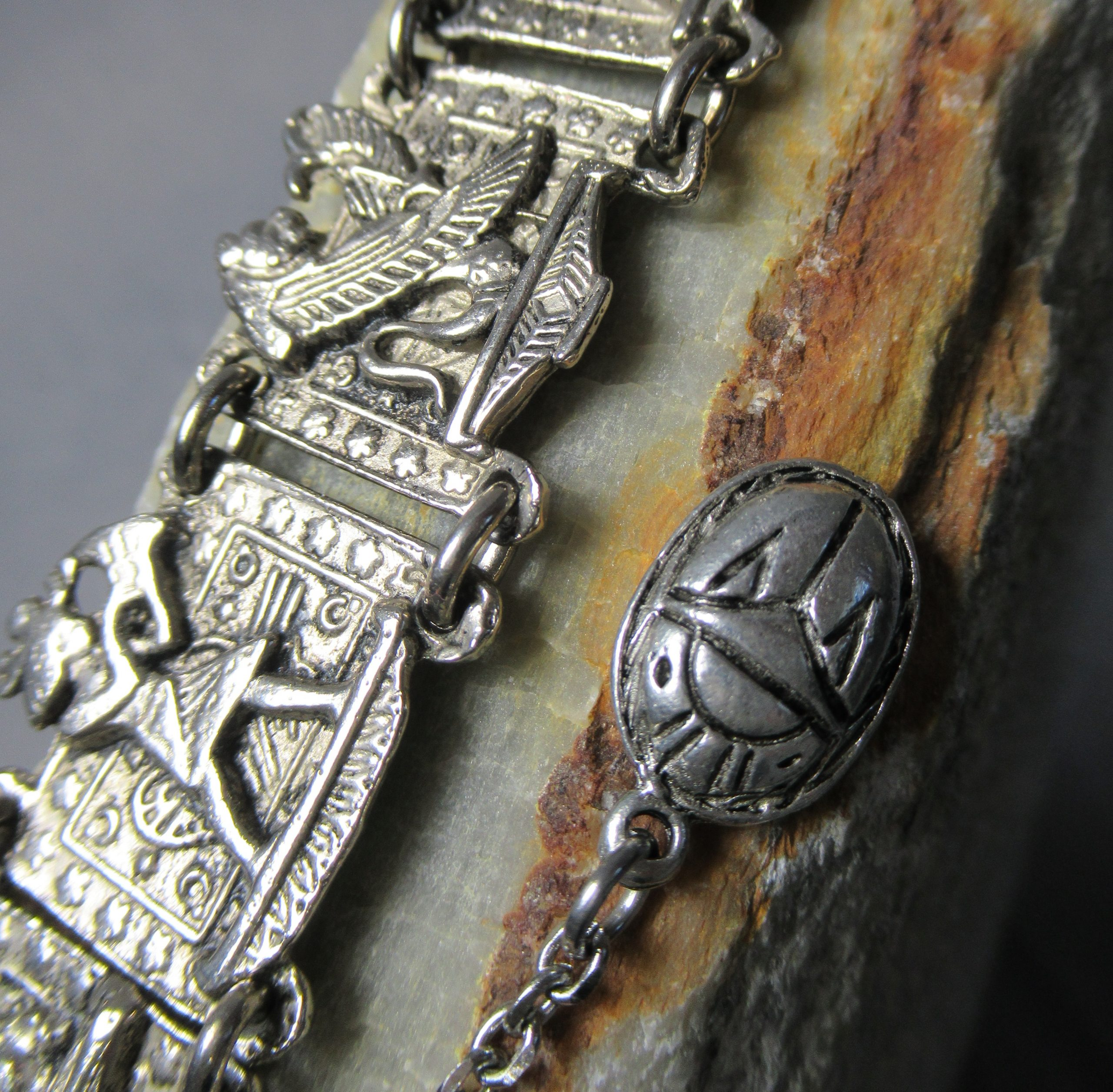 Silver Egyptian Story Bracelet